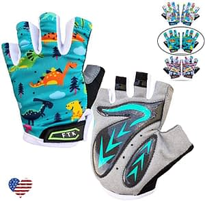 ten finger dinosaur fingerless cycle gloves