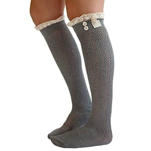 oot Socks with Lace Trim