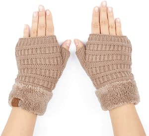 C.C Women's Warm Knit Fingerless Half Finger fuzzy Lined Winter Gloves