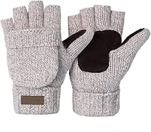 YSense - Women's Winter Gloves 2 Pack Warm Wool Knitted Convertible Fingerless Gloves