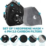 AIRNEX Anti Pollution neoprene Dust Mask with 4 Activated Carbon Filters