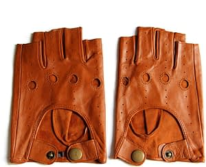 YISEVEN - Men's Fingerless Lambskin Leather fingerless Gloves