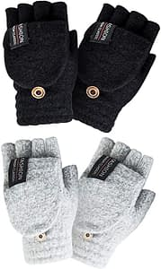 YSense - Women's Winter Gloves, 2 Pack Warm Wool Knitted Convertible Fingerless Gloves
